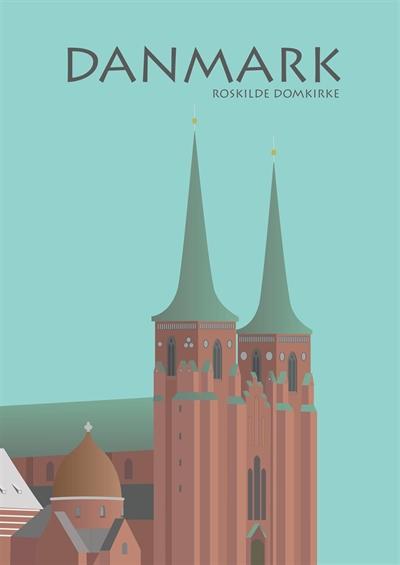 0 2021 - Billederamme med Danmarks Motiv - sølv ramme - 30x40 cm - Roskilde Domkirke