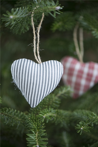Hjerte i stof fra Ib Laursen 6,5x7,5 cm
